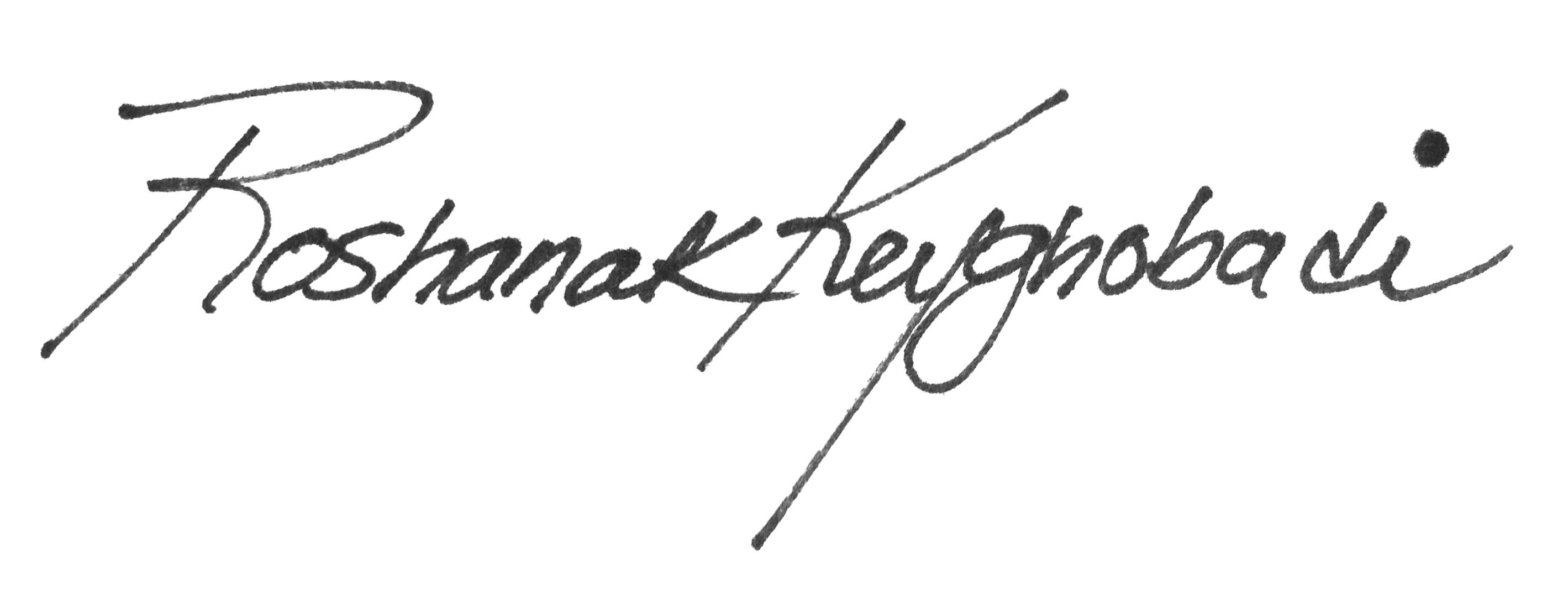 Roshanak Keyghobadi Signature