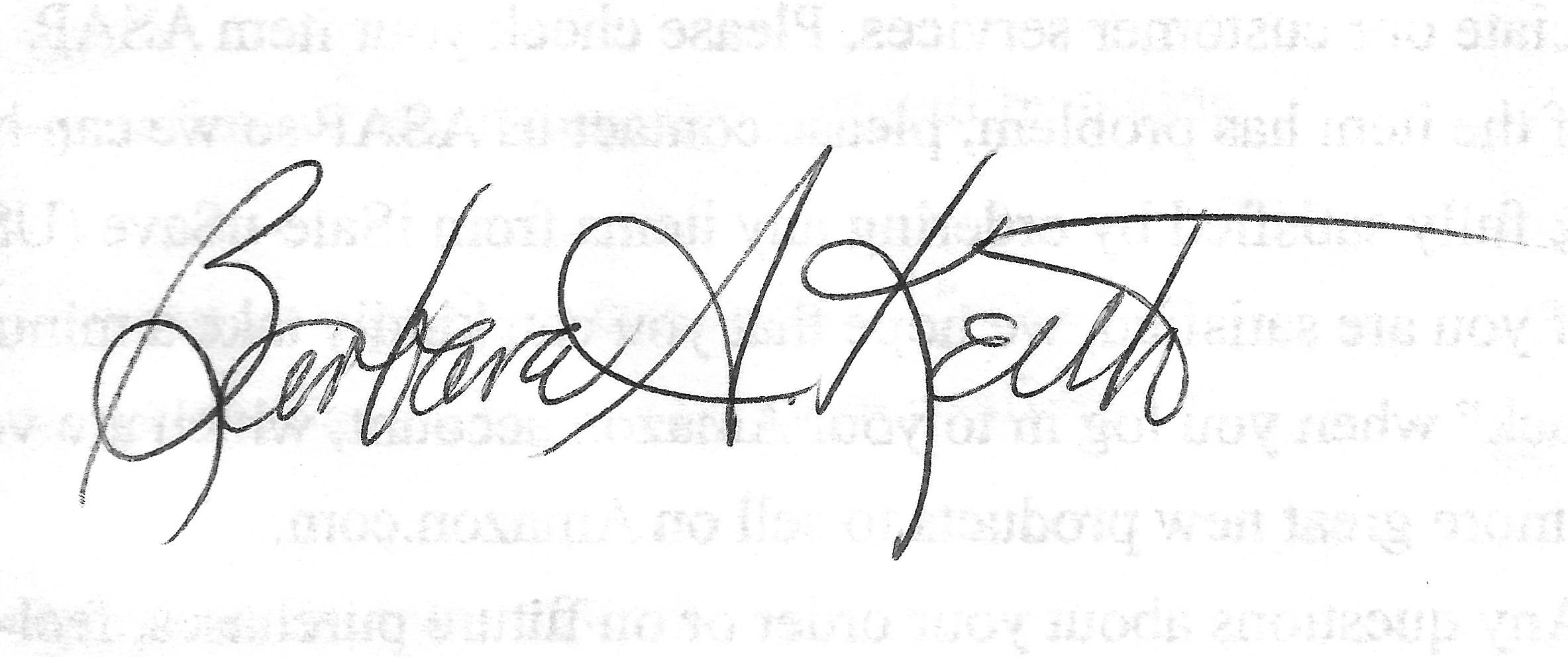 Barbara Keith Signature