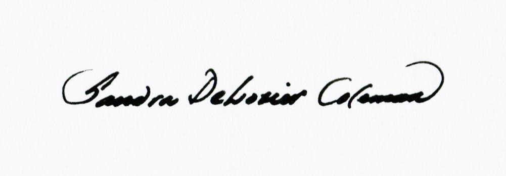 Sandra DeLozier Coleman Signature