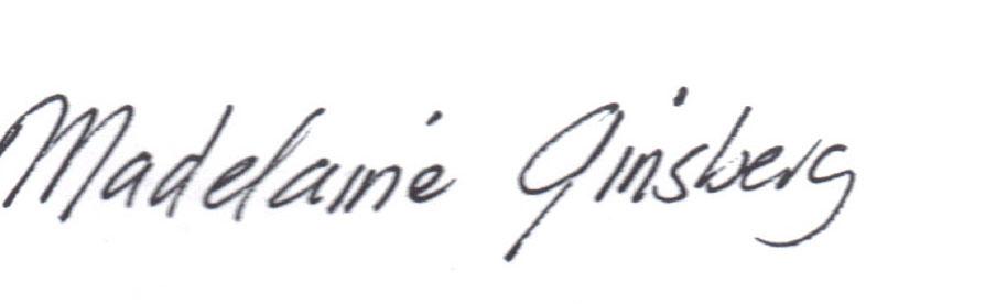 Madelaine Ginsberg Signature