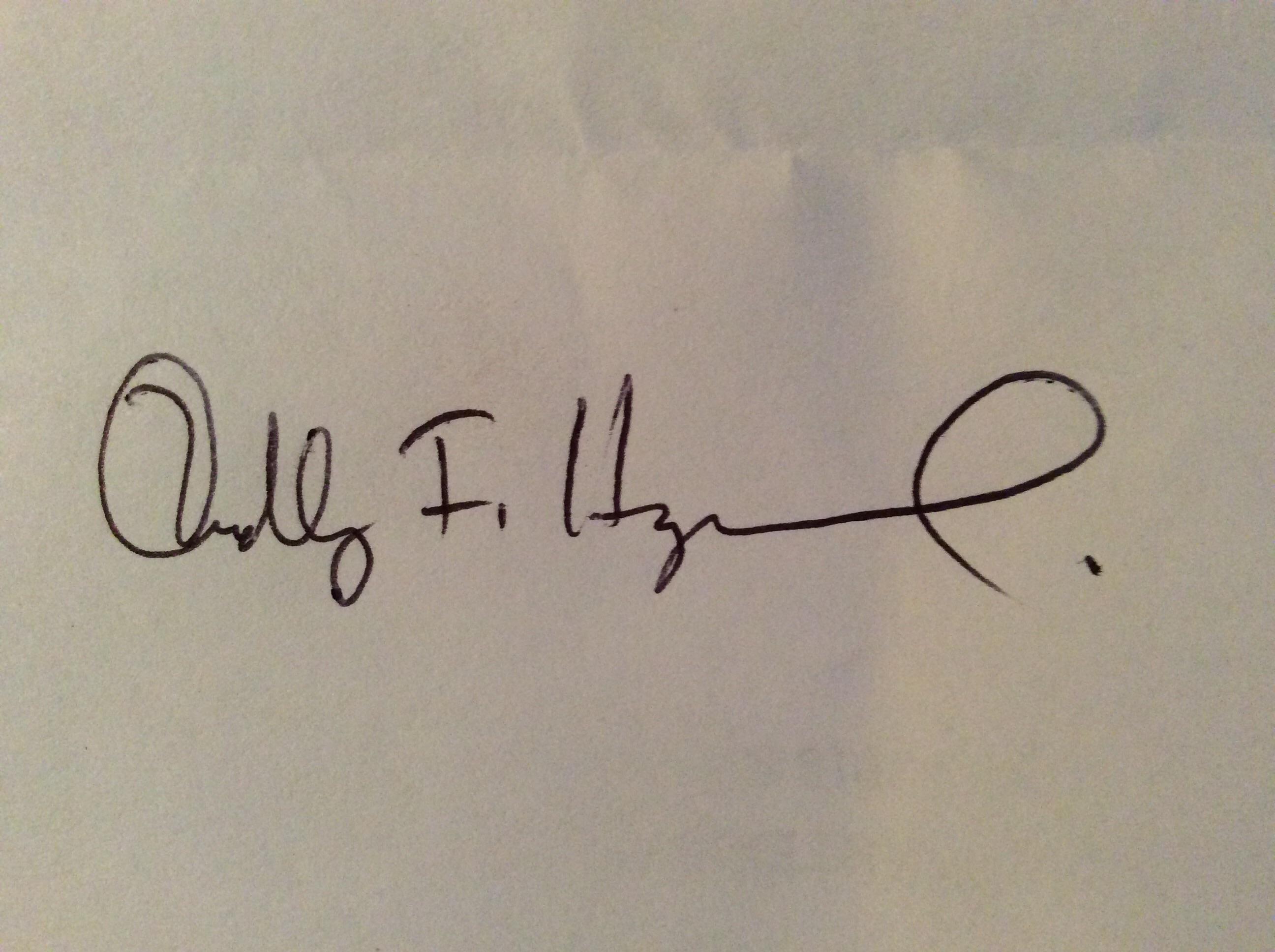 Dudley F Hayward Signature