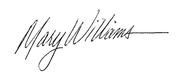 Mary Williams Signature