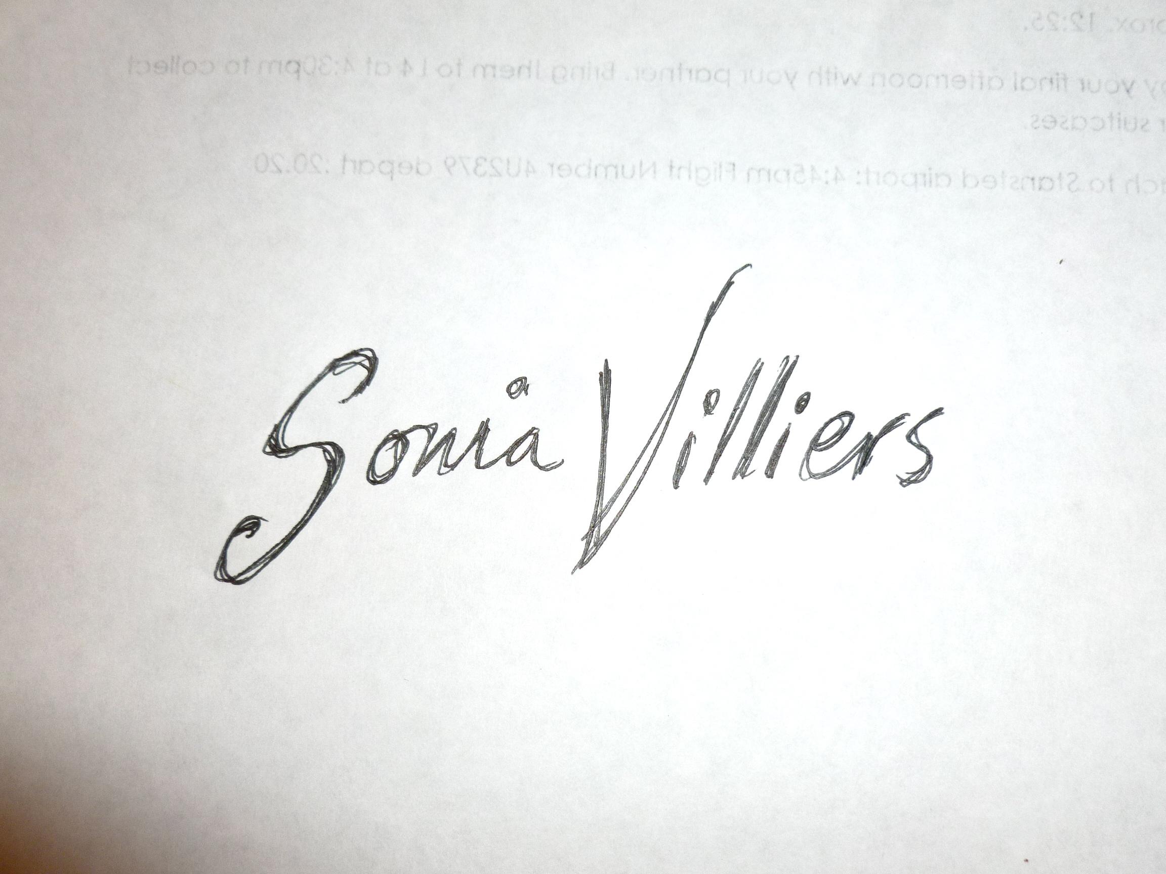Sonia Villiers Signature