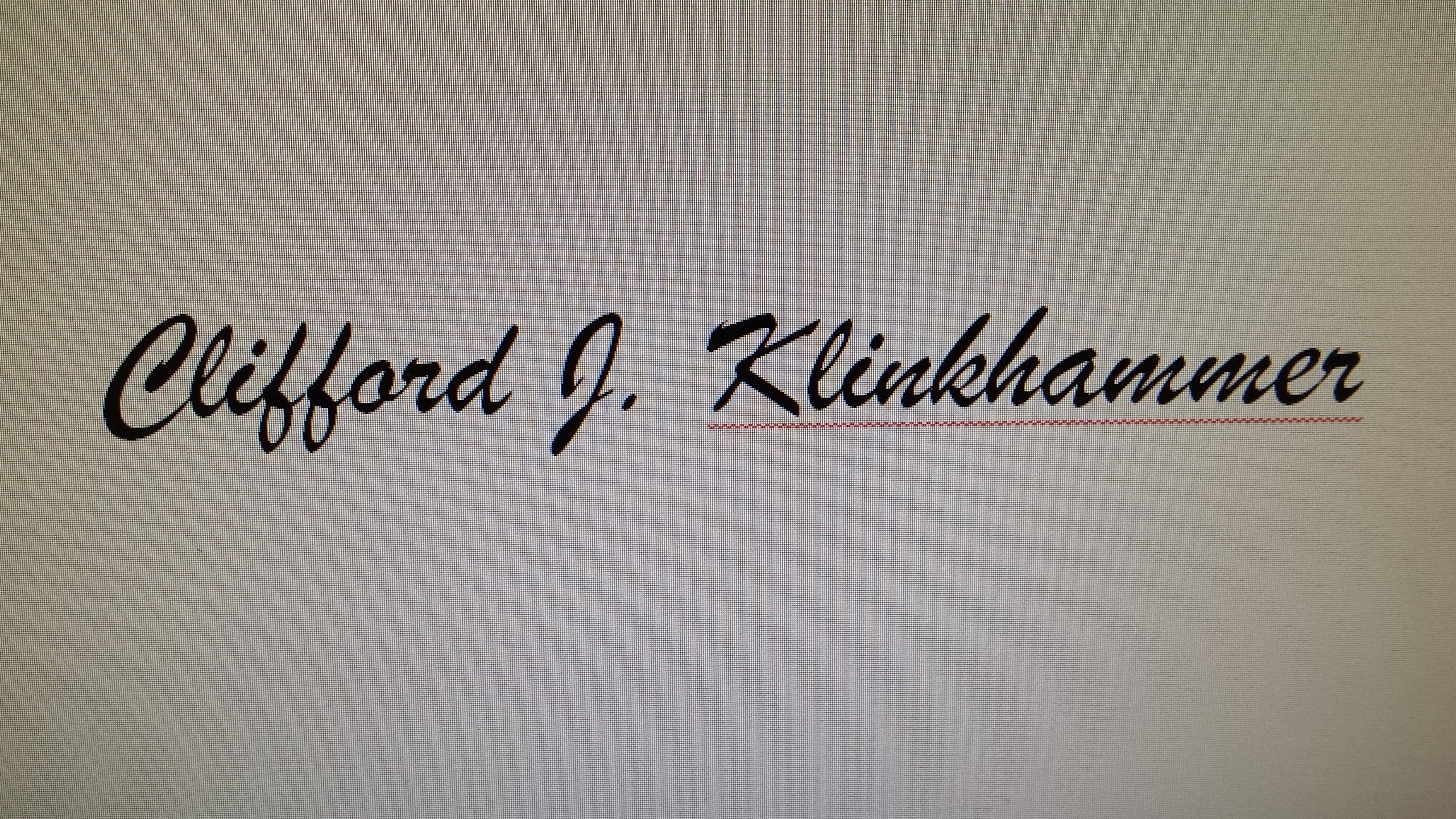 Clifford J. Klinkhammer Signature