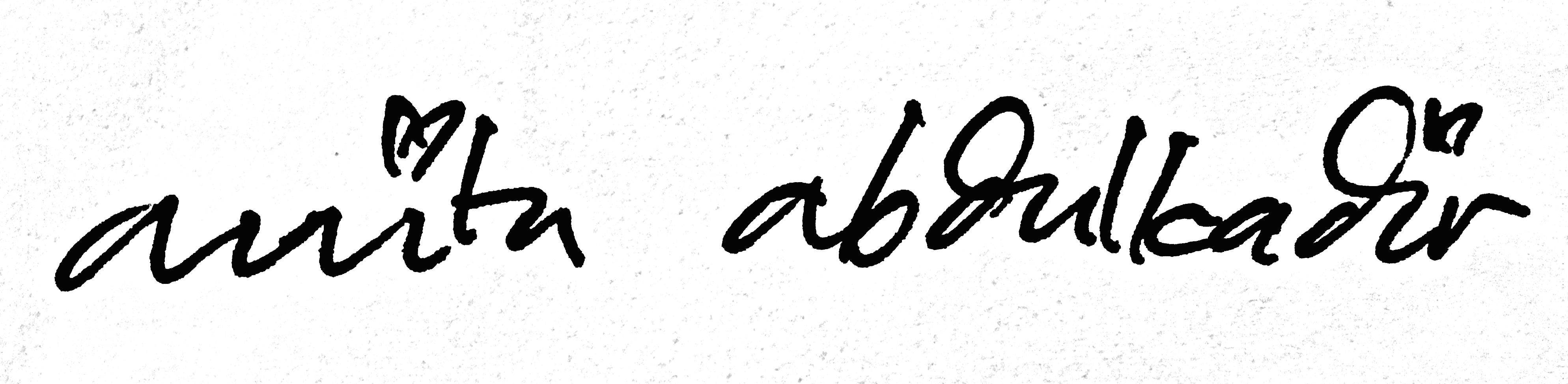 Anita Abdulkadir Signature