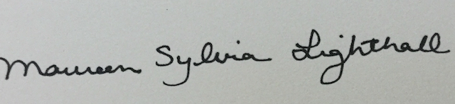 Maureen Sylvia Lighthall Signature